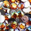 Acrylic Round Flat Back Rhinestones 20mm Orange Aurora Borealis 200pcs/bag